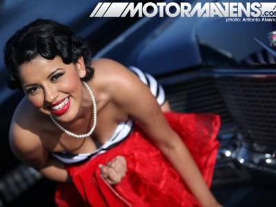 Mooneyes, Mooneyes Xmas Party, pin up girl, hot rod, cadillac, irwindale, pin up little bit