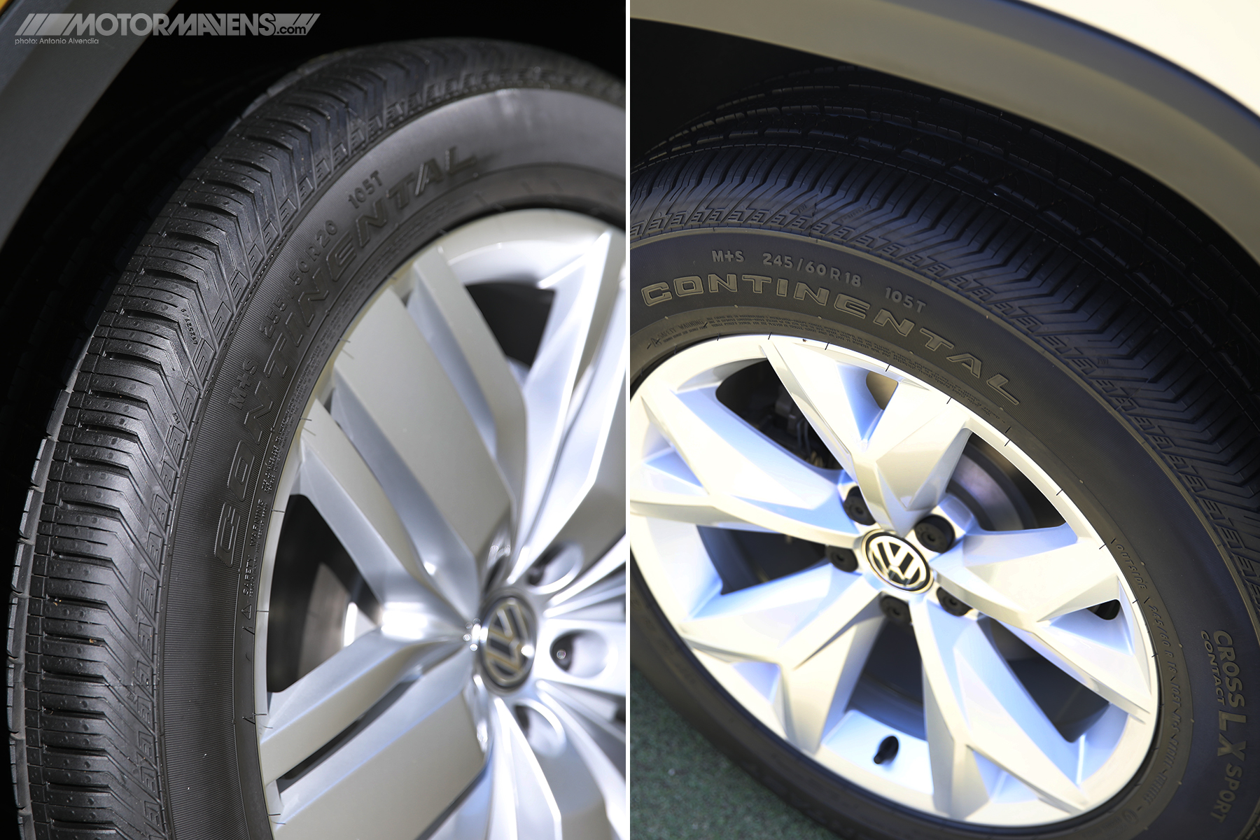 VW Atlas wheel and tire options 20 inch 18 inch Continental Tires