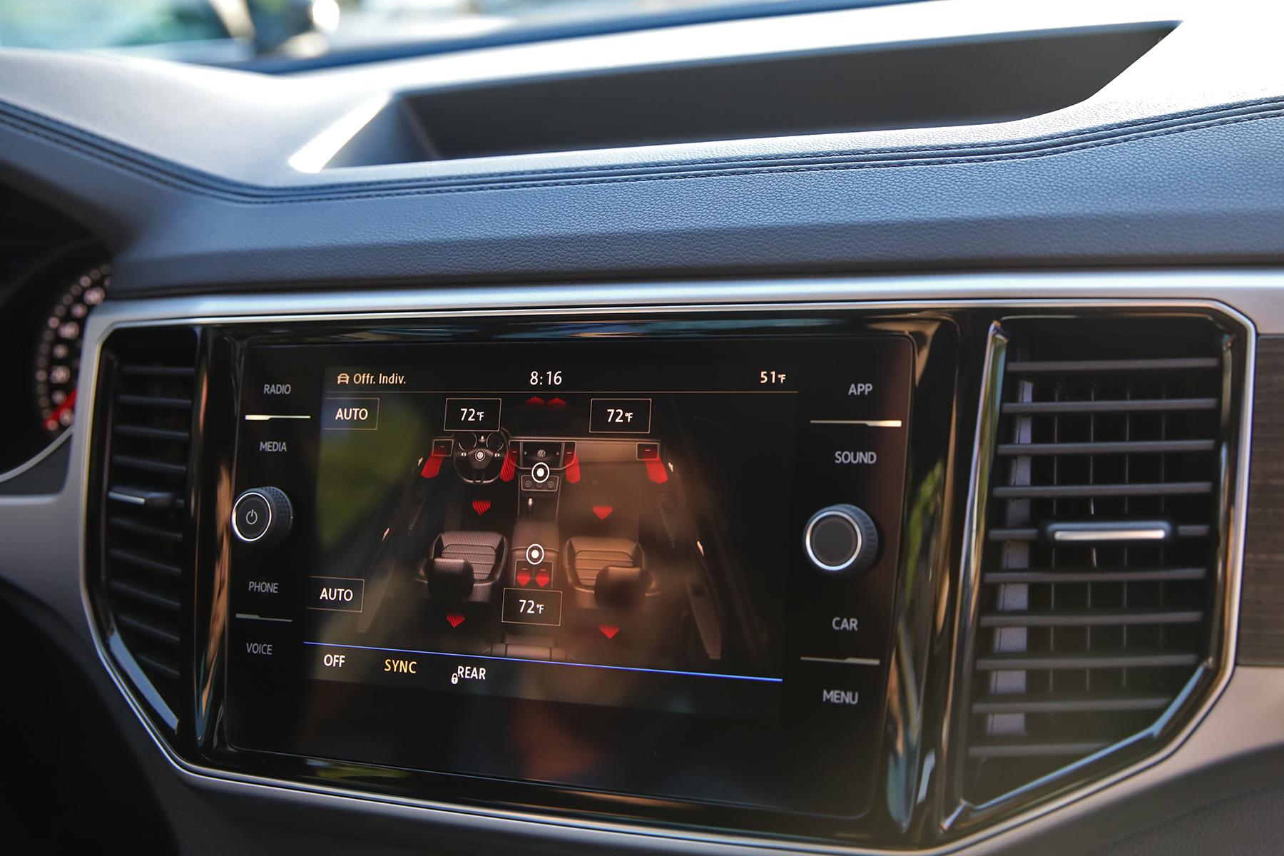 VW Atlas interior SUV climate control screen